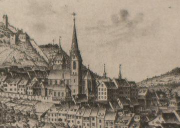 Ansicht der Altstadt von Baden, Federzeichnung von Joh. Conr. Nötzli, 1751