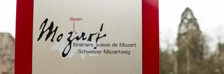 Mozartstele in Baden neben der Stadtkirche