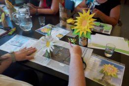 Blumengesichter auf Birkenstämmchen basteln 1
